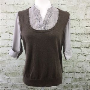 Sonoma Brown Mandarin Collar 2 in 1 Vest & Shirt